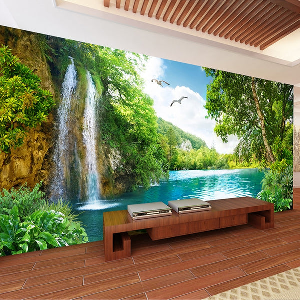 Custom 3D Wall Mural Wallpaper Home Decor Green Mountain Waterfall Nature Landscape 3D Photo Wall Paper For Living Room Bedroom
