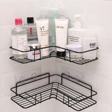 Bathroom kitchen Punch Corner Frame Shower Shelf Wrought Iron Shampoo Storage Rack Holder with Suction Cup bathroom accessories