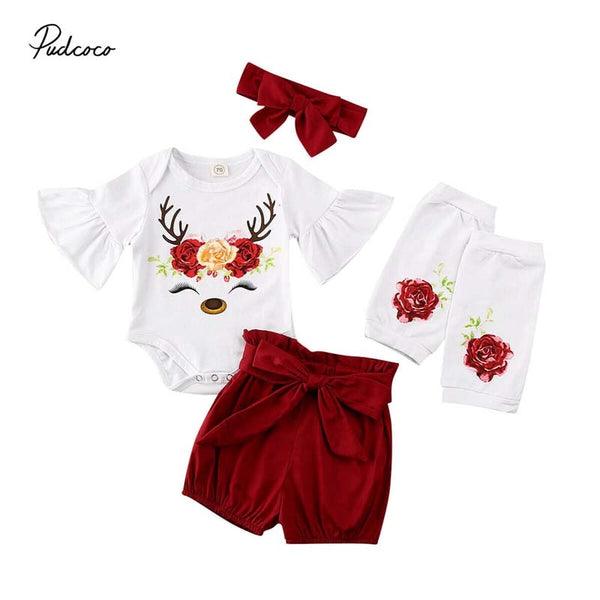 2020 Baby Summer Clothing Newborn Baby Girl Christmas Flare Sleeve Romper+Shorts+Leg Warmers +Headband Deer Outfit Clothes 4PCS
