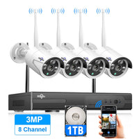 Hiseeu 8CH Wireless CCTV System 1536P 1080P NVR wifi IR-CUT Outdoor 3MP AI IP CCTV Camera Security System Video Surveillance Kit