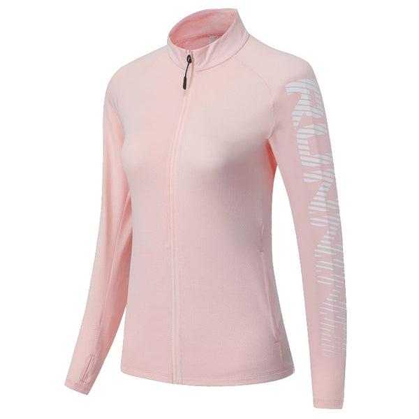 Women Running Jackets Zipper Slim Sports Fitness Jersey Traning Workout Active Wear Long Sleeve Yoga Thin Women Shirts