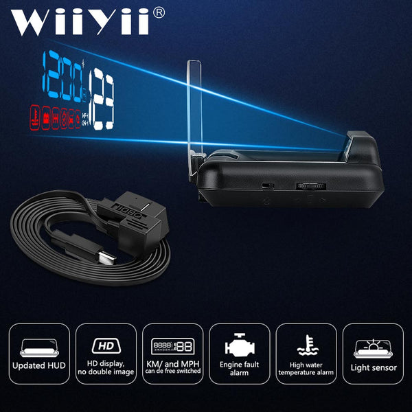WiiYii  hud  C500 obd head up display OBD  speedometer universal car Overspeed Warning Windshield Projector Alarm System