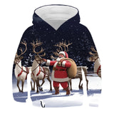 2020 Christmas Winter Santa 4-14 Years Girl Boy Autumn Swearshirts Print polyester Long Sleeve Christmas tree Hooded Sweatshirts