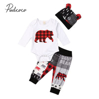 2020 Baby Spring Autumn Clothing 3PCS Newborn Baby Boy Girl Christmas Clothes Set Bear Print Romper Pants Ears Hats Outfits