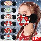 Winter Mask For Face Kids Christmas Party Decoration Fashion Printed Masks Reusable Washable Mouth Cover Mask With Earmuffs