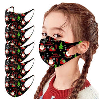5pcs santa claus Masks Christmas Decoration For Face Kids Fashion Printed Reusable Washable Mouth Cover masque coton reutilisa