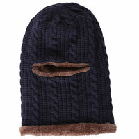 Plus Velvet Face Mask Cap Bonnets For Women Outdoor Riding Ski Windproof Knitted Hat Scarf Protecting Ears Wool Beanies For Men
