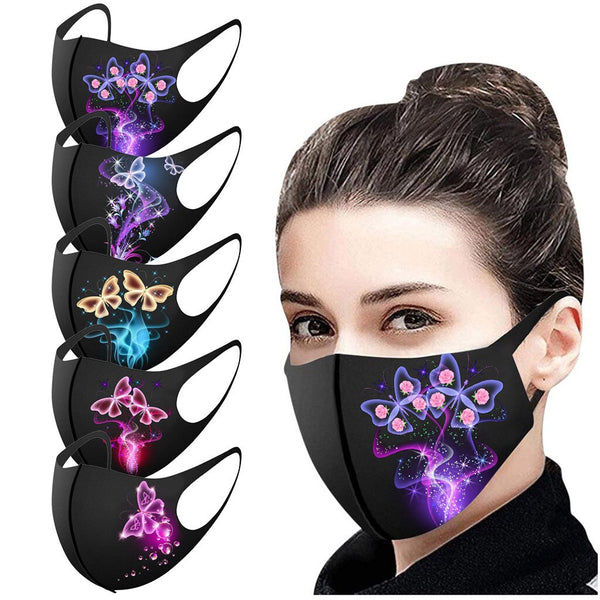 1pc Butterfly Printed Mouth Masks Adult For Washable Reusable Christmas Decoration For Face Christmas Masque Coton Reutilisable