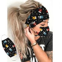 Christmas Fashion Print Headband with Button Women prevent Ears hair accessories cosplay Female Hairband