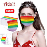 10/20/30/40/50/60/70/80pcs Rainbow Color Cosplay Disposable Bandana Decoration For Face Adult Fashion Festive Luxury Scarf