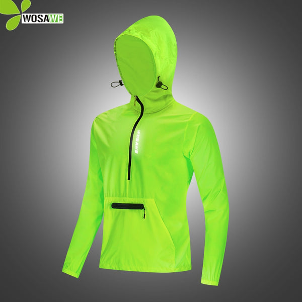WOSAWE Waterproof Running Jackets Hooded Caps Reflective Rain Repellent Women Men's Gym Sports Sweatshirts Cycling Windbreaker