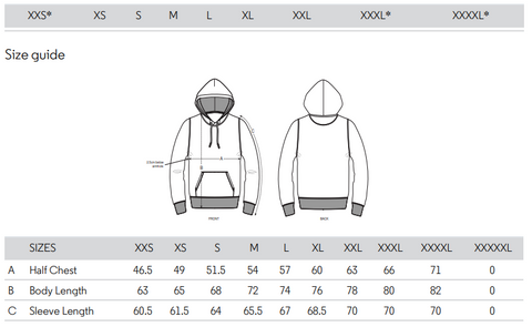Passform Hoodie, Size Chart