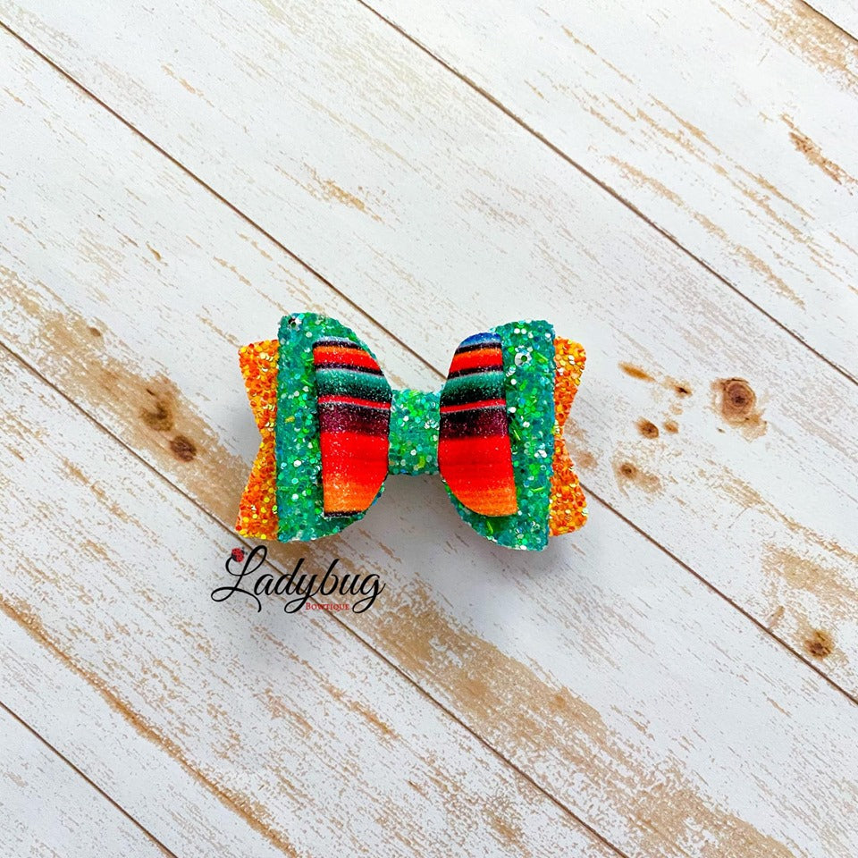 2.5-inch green & orange sparkle striped bow