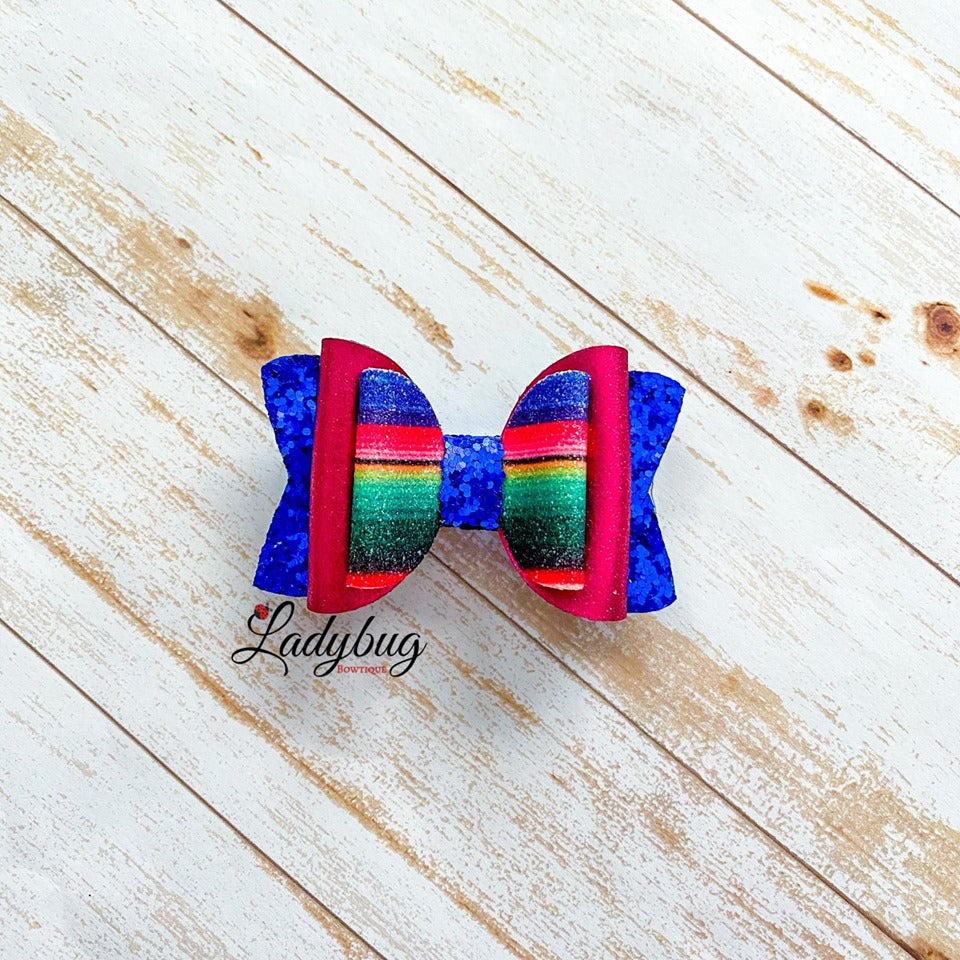 2.5-inch blue, maroon & striped bow