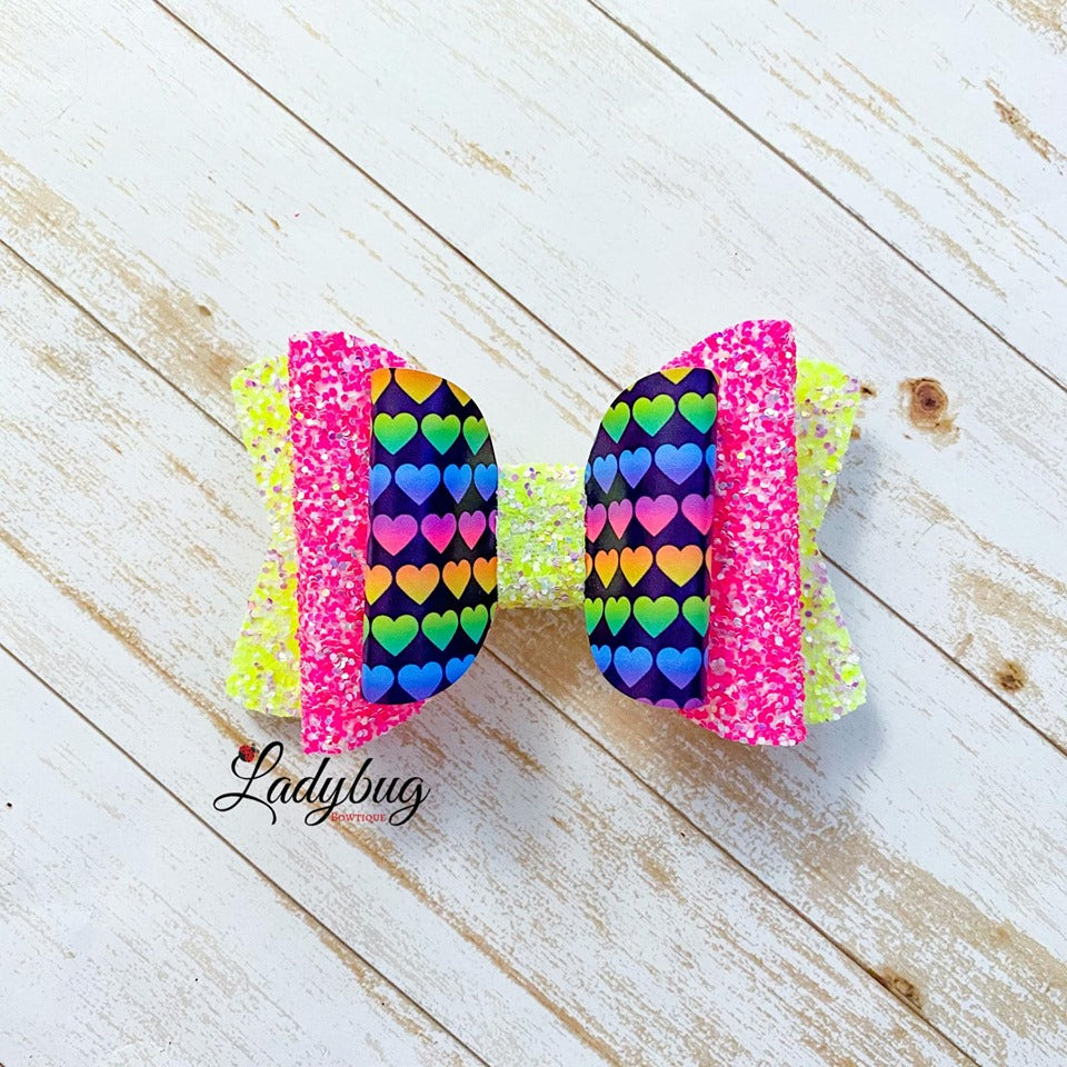 4-inch yellow & pink sparkle multicolor hearts bow