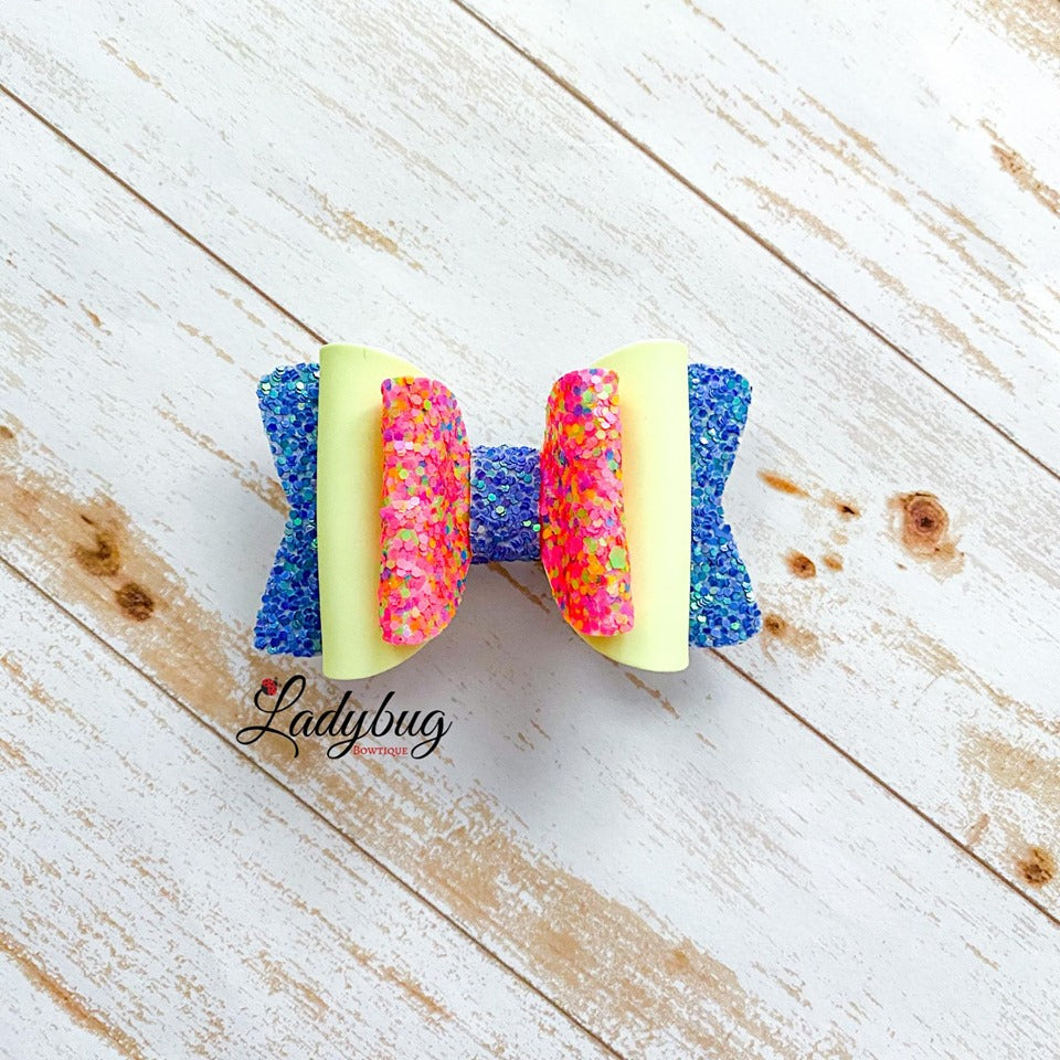 2.5-inch blue & pink sparkle yellow bow