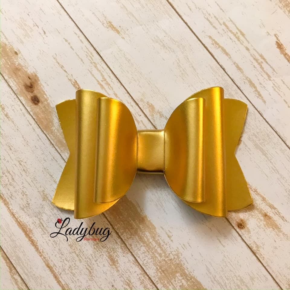 4-inch gold metallic bow