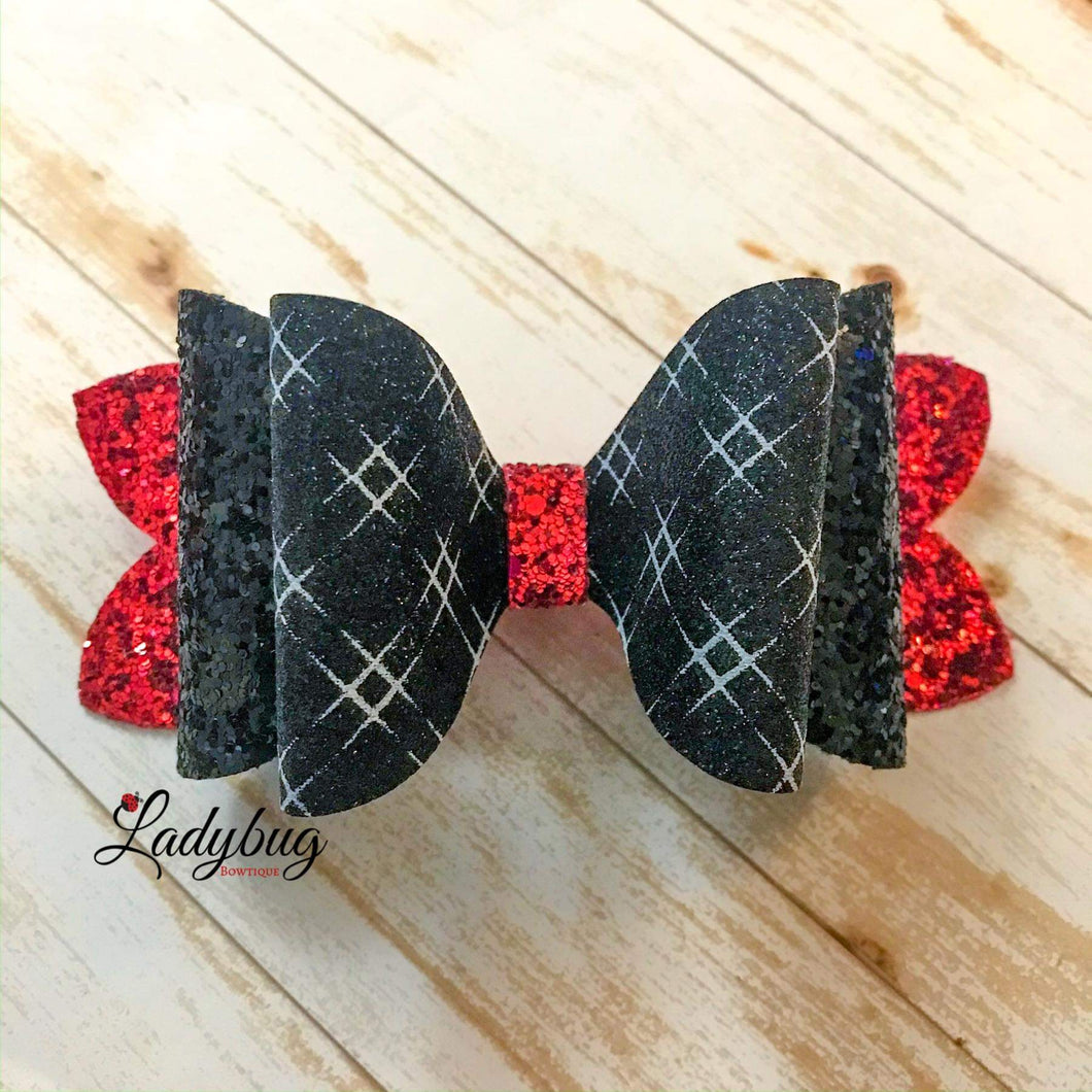 5-inch red & black sparkle crosshatch bow