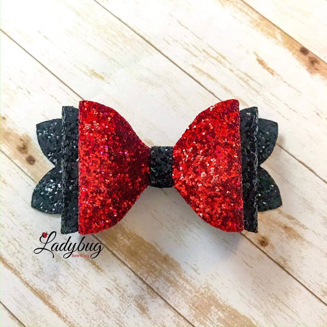 5-inch red & black sparkle bow