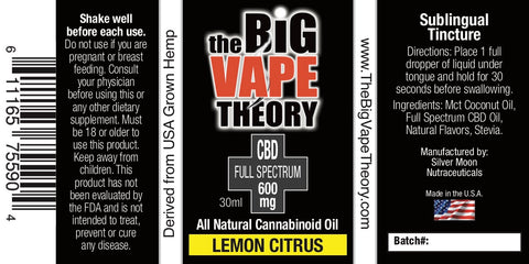 BVT - CBD Tincture 600mg (Full Spectrum) | CBD Products