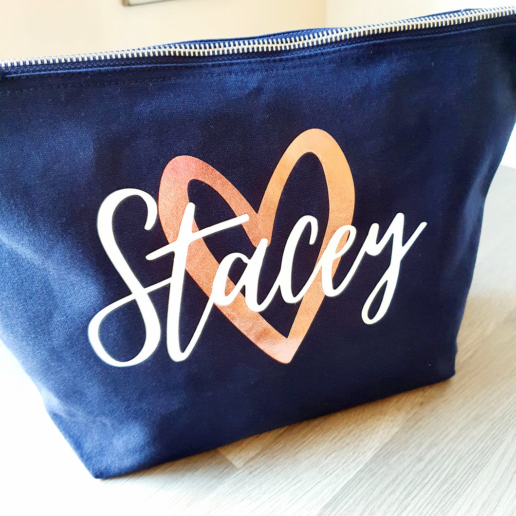 Named with Heart Make Up Bag