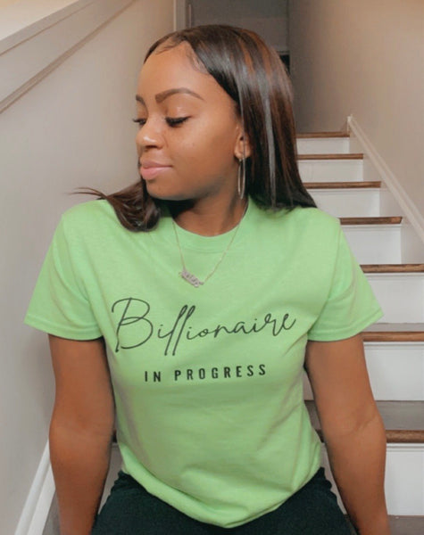 Billionaire In Progress - Neon Green Short Sleeve