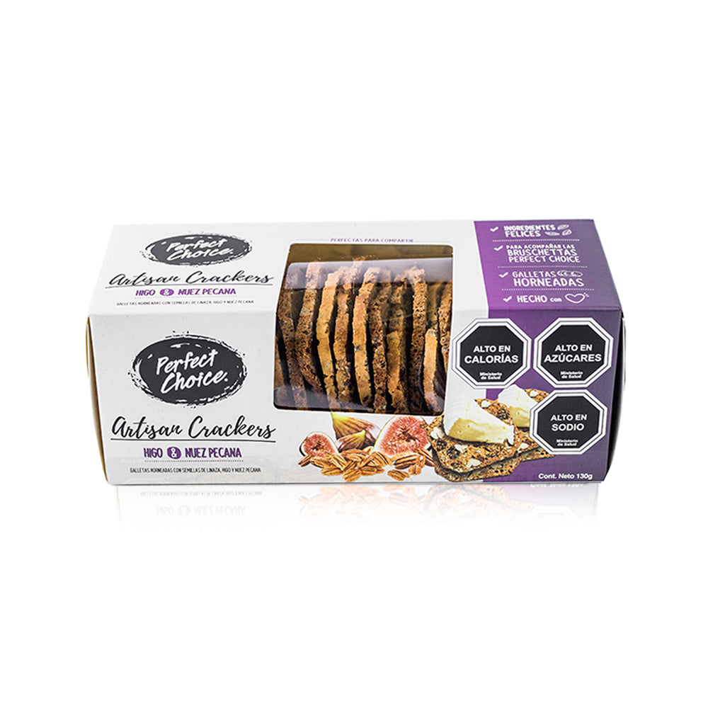 CRACKERS ARTISAN HIGO& NUEZ PECANA 130 GRS. PERFECT CHOISE