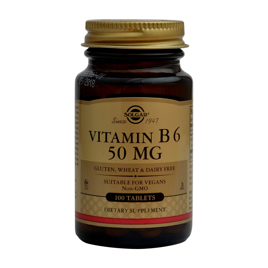 VITAMINAS B6 - 50MG - 100 TABLETAS- SOLGAR