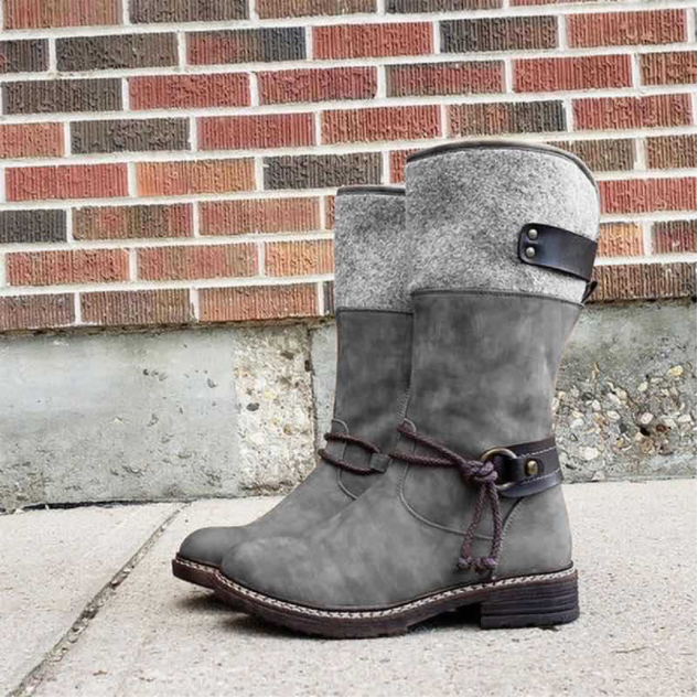 Women Winter Retro Lace Mid-calf Boots