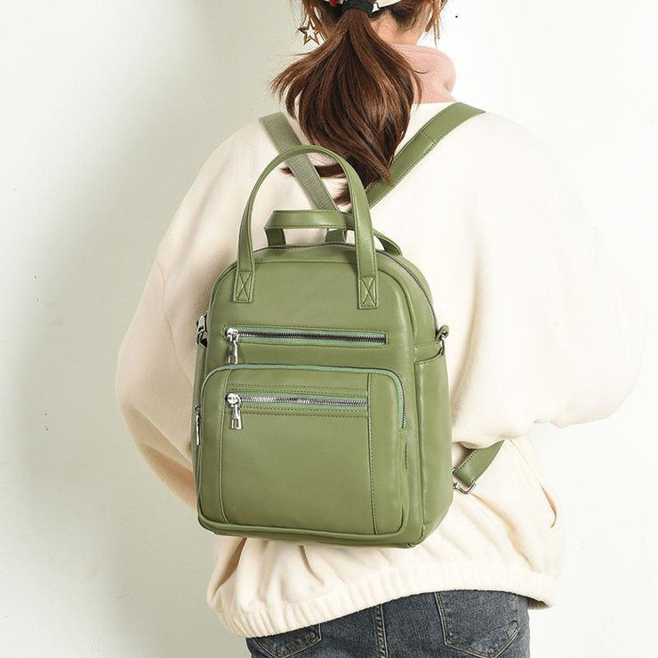 Women's Classic Solid Multi-pocket Zipper Leather Backpack