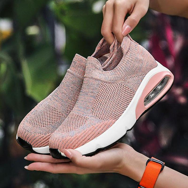 Women Flying Woven Air Cushion Casual Shoes