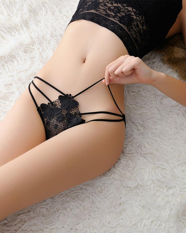 Mesh Splicing Butterflies Embroidery Strappy Low Waist Panties