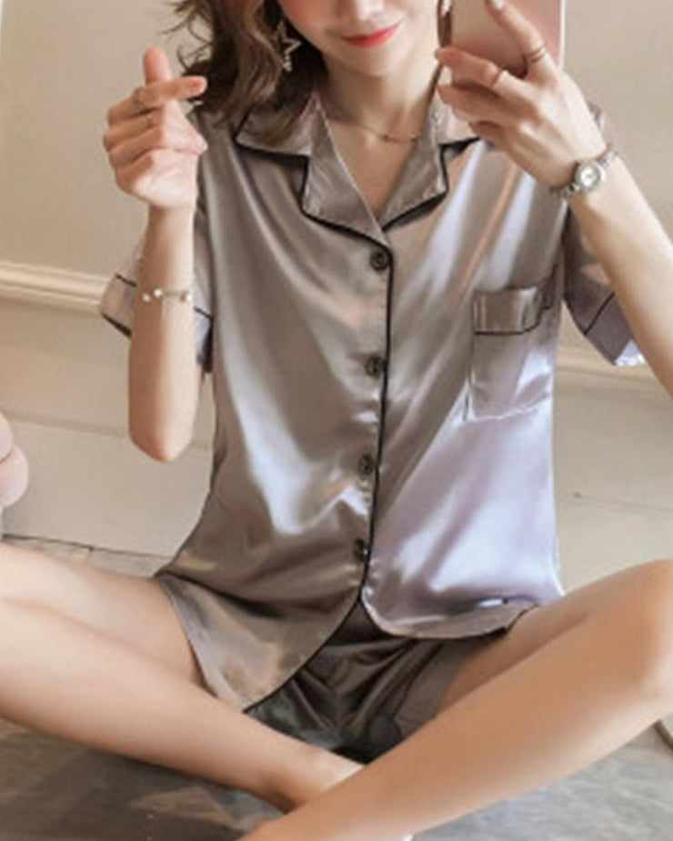 Satin Shirt & Shorts Pajama Set