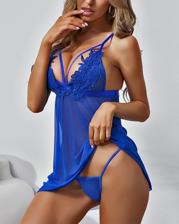 Solid Cut-out Strap Slip Mini Dress With T-string Sexy Sets