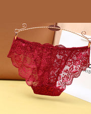 Sexy See-through Floral Lace Splicing Bow Low Waist Skinny Panties