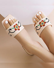 Floral Embroidery Square-toe Flat Sandals