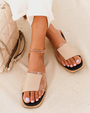 Colorblock Square Toe Flat Sandals