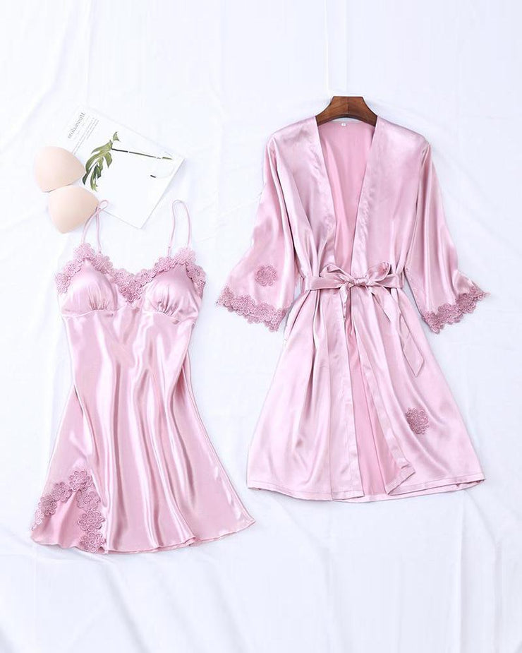 Lace Trim Robe & Camisole Set
