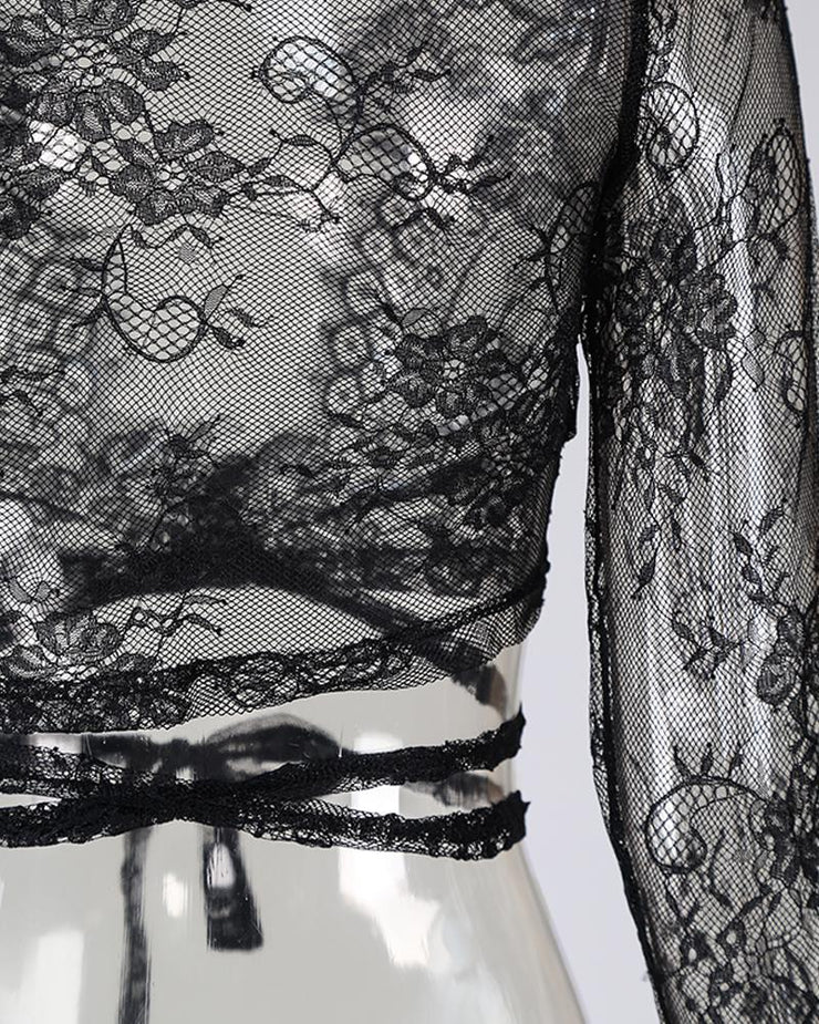 Sheer Eyelash Lace Tied Lingerie Top