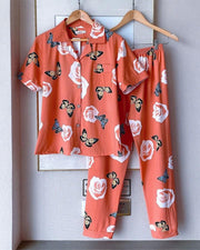 Butterflies And Floral Print Short Sleeve Silk 2-Piece Pajamas Sets