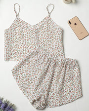 Ice Silk Floral Tank Shorts Pajamas Sets