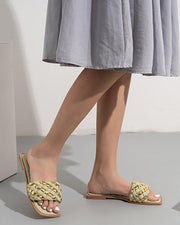 Color Block Square-toe Flat Slippers