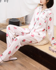 Strawberry Print Long Sleeve Silk PJ Sets