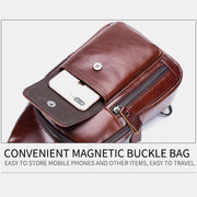 Genuine Leather Sling Chest Bag with Earphone Hole