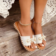 Women's Casual Pearl Open Toe Slippers