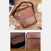 Solid Genuine Leather Messenger Bag
