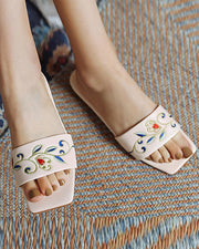 Square-toe Splicing Embroidery Flat Sandals