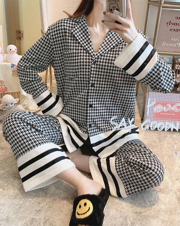 Houndstooth Long Sleeve Pajamas Sets