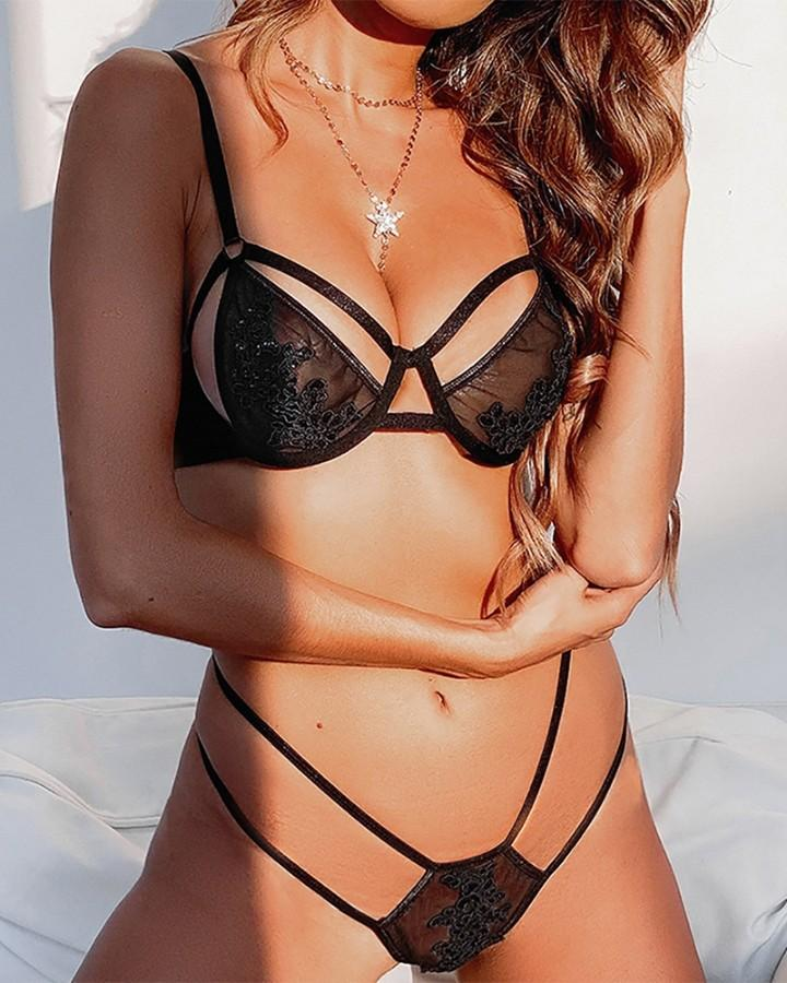 Solid Lace Contrast Cut-out Strap Bra With Panties Sexy Sets