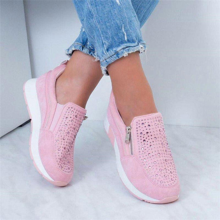 Women's Casual Zipper Platform Rhinestone Trainers